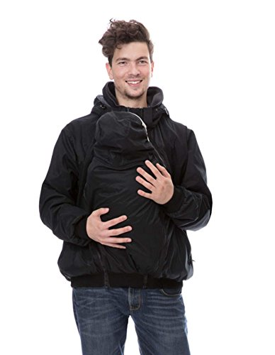GoFuture Damen Tragejacke für Mama und Baby 4in1 Känguru Jacke Umstandsjacke VivaPapa GF2320XA5 Schwarz mit dunkelgrauem Innenfutter - 3