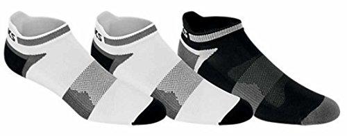 ASICS Unisex Quick Lyte Cushion Single Tab Socks (3 Pairs), White/Black, Large