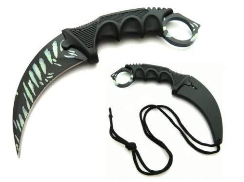 KOSxBO® CSGO Knife - Karambit Messer schwarz,grün,rot 19 cm - Tactical Hunter Knife Snake BITE Edition - Counter Strike Global Offensive Skin - Predator Neck Knife