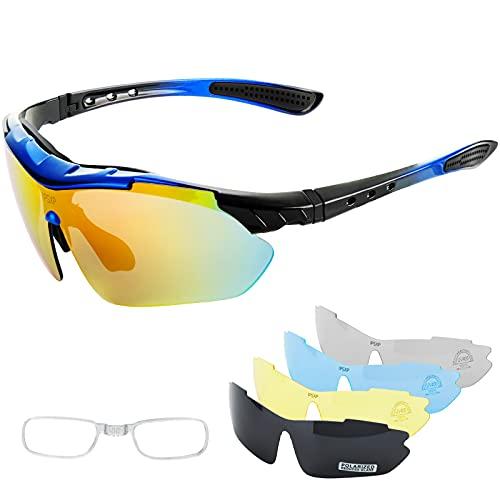 IPSXP Fahrradbrille,polarisierte Sportsonnenbrille,Fahrradbrille für Männer Frauen mit 5 Wechselobjektiven   nachtbrille zum autofahren   HD Halbrand   Polarisiert   Ultra Light (Schwarz&Blau)