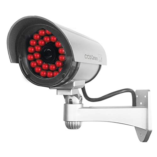 Masione 4 Pack Outdoor Fake/Dummy Security Camera with 30 Illuminating LED Light (Silver) CCTV Surveillance