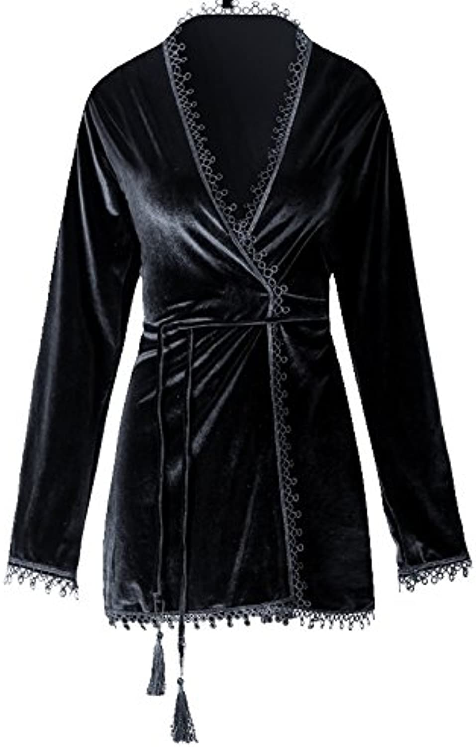 GJM Shop Female Black Autumn and Winter Polyester Fiber Long Sleeve Short Paragraph Sexy Pajamas Nightgown Bathrobes (Size   L)