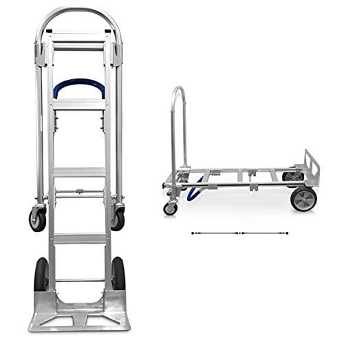 Heavy Duty Convertible Hand Truck Dolly Fully Assembled | Aluminum Sr. Moving Dolly Converts From Hand Truck to Platform Push Cart in Seconds | Utility Cart with Anti-Slip Handle | 61 x 20 x 20 Inches