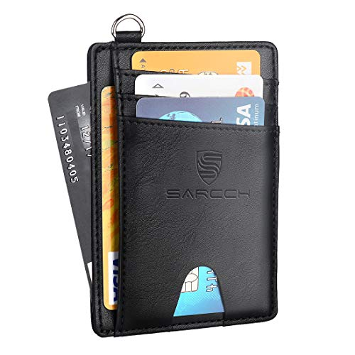 SARCCH Slim Minimalist Front Pocket RFID Blocking Wallets, Credit Card Holder with Disassembly D-Shackle for Men Women