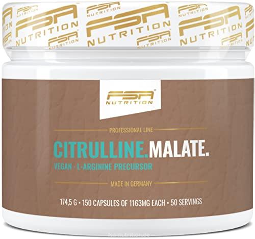 L-Citrullin Malat 150 Kapseln, 1000 mg pro Kapsel, optimales 2:1 Verhältnis, Vegan, Hergestellt in Deutschland - FSA Nutrition