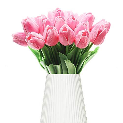 Fiori Artificiali GKONGU 10 Pezzi Artificiale Del Tulipano Fiori Per la Decorazione della stanza,Tulipano Bouquet Per Fiori di Nozze-Rose