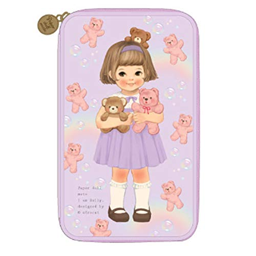 [韓国Afrocat] Afrocatペーパードールメイトの女性 マルチペンポーチL Ver3バッグ (Afrocat Paper Doll Mate Multi Pen Pouch L Ver3 Bag) (Purple(Sally)) [並行輸入品]