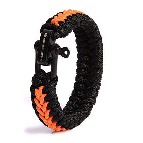 The Friendly Swede Paracord Survival Armband mit Micro-Cord - größenverstellbar (Orange Small)