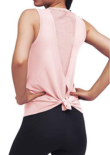 Mippo Workout Clothes for Women Sexy Open Back Yoga Tops Mesh Tie Back Muscle Tank Workout Shirts Sleeveless Cute Fitness Active Tank Tops Comfort Sports Gym Clothes Fashion 2020 Pink S