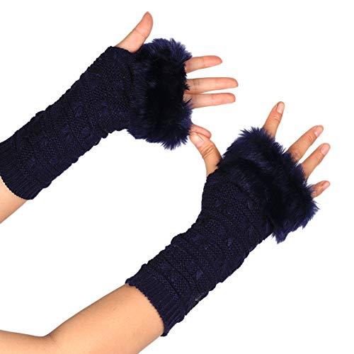 MoreChioce Kunstfell Armstulpen,Damen Winter Wärm Handschuhe Kunstpelz Handwärmer Manschetten Gestrickte Stulpen Handstulpen Armmanschette,Marine