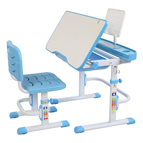 Height Adjustable Children's Desk with Tilting Anti-Reflective Wooden Table, Book Stand, Extendable Drawer with Chair for Boys And Girls Gifts