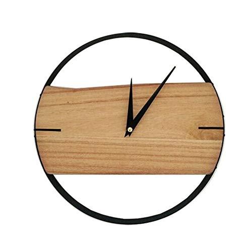Scra AC Reloj de pared de hierro nórdico con personalidad de madera, para sala de estar, dormitorio, reloj de cuarzo, creativo, moderno, minimalista, mesa 29 cm x 29 cm