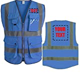 High Visibility Reflective Safety Vest Class 2 ANSI Custom Your Text Protective...