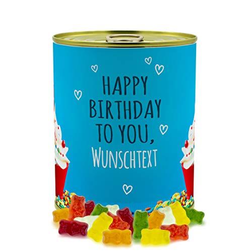 printplanet® - Konservendose mit Name oder Text selbst gestalten - Süßigkeiten-Dose - Layout Geburtstags-Cupcake - Füllung Haribo Goldbären