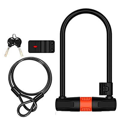 N / A Bicycle Lock Set Alloy Steel, U-Shaped 14Mm Hardened Steel Hook and Loop Rubber Coated Double Bolt Locking, Suitable for All Kinds of Bicycles