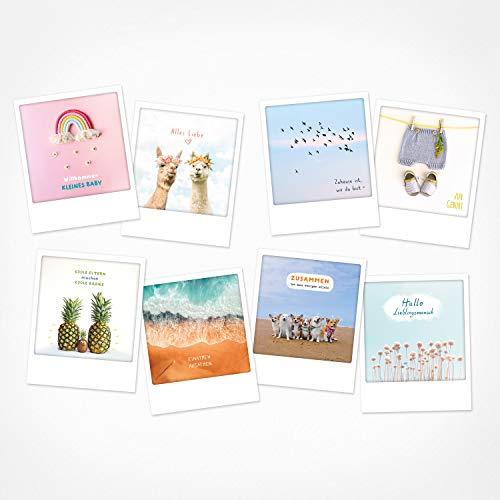 PICKMOTION Set mit 8 Foto-Post-Karten Grüße & Wünsche, Instagram-Fotografen-Zur Geburt-Karten, handgemachte Grußkarten, lustige Sprüche & Motive, Tiere, Blumen, bunt, BPK-0122