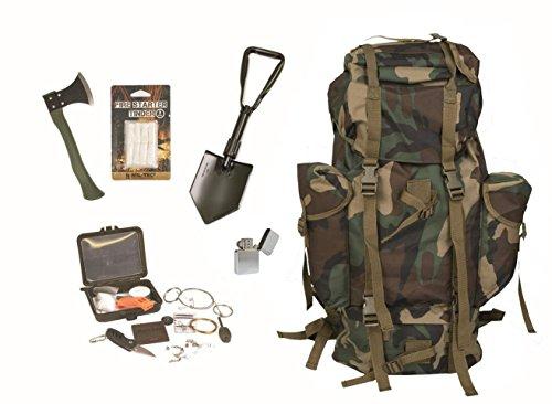 AOS-Outdoor Survival Set BW Bundeswehr Woodland Kampfrucksack + Spaten + Beil + Survival Box usw.