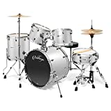 Ashthorpe 5-Piece Full Size Adult Drum Set with Remo Heads & Premium Brass Cymbals - Complete Professional Percussion Kit with Chrome...
