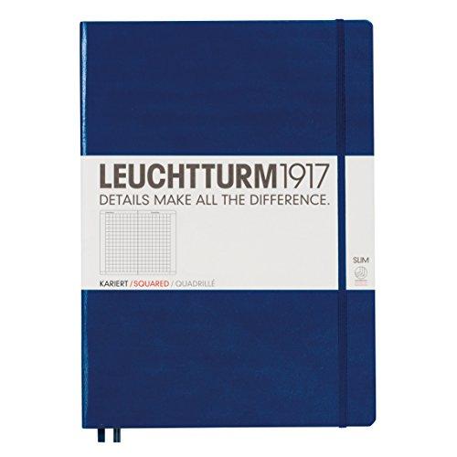 LEUCHTTURM1917 342927 Notizbuch Master Slim (A4+), Hardcover, 123 nummerierte Seiten, Marine, kariert
