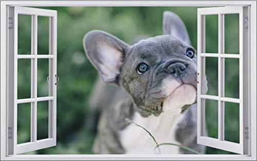 Fotografie Hund Französische Bulldogge Wandtattoo Wandsticker Wandaufkleber F1891 Größe 70 cm x 110 cm