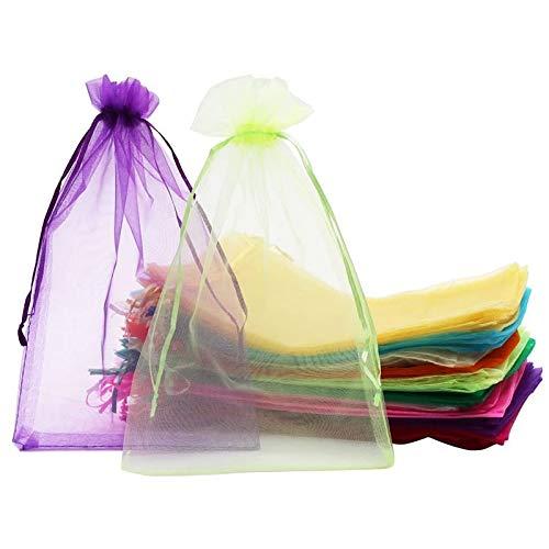 Casinlog 100 bolsas de organza GrooE, 20 x 30 cm, con cordón, para regalo de Navidad, bodas (10 colores)