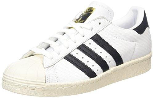 adidas Herren Superstar 80s Sneaker - Mehrfarbig (Running Weiß / Trace Blau / Grau) , 42 2/3 EU