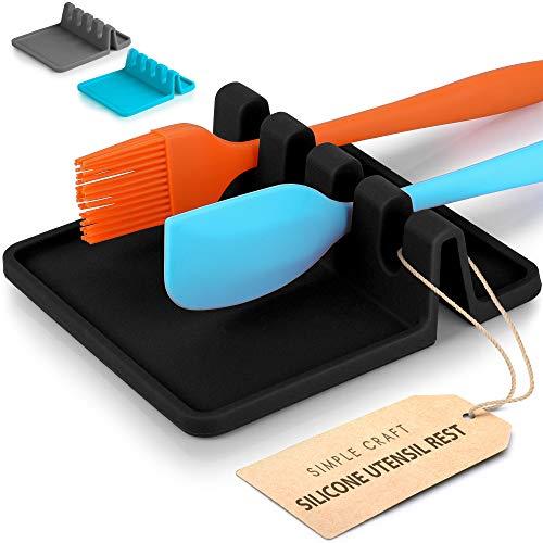 Simple Craft - Soporte para cuchara de silicona con almohadilla antigoteo (4 cucharas ranuradas, para utensilios de cocina, pinzas, cucharas, resistente al calor, soporte para...