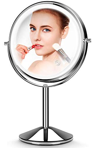 JOMARTO Makeup Mirror with Light,10X Magnification Makeup Mirror, Vanity Mirror,Double Sided Dimmable Cosmetic Mirror with Touch Control 360°Rotation Battery Powered, Lighted Makeup Mirror