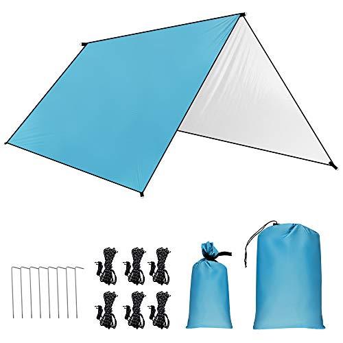 GROOFOO Camping de Lona 3 x 3m, Camping Impermeable Lona con Cuerdas y Clavijas,Portátil Tarp de UV Protección para Acampar, Picnic, Senderismo y Al Aire Libre (Azul)