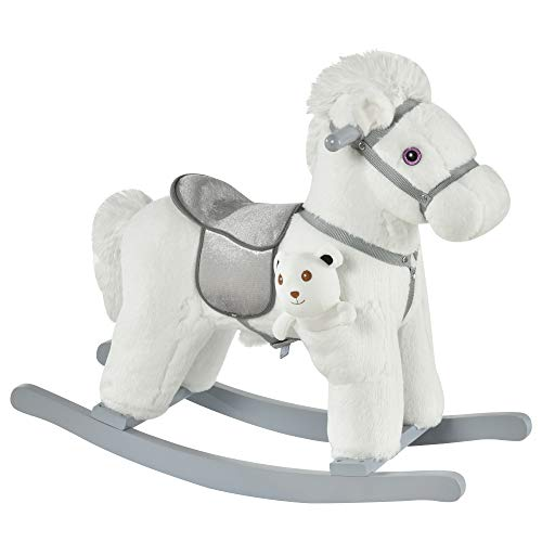 Qaba Kids Plush Ride-On Rocking Horse with Bear Toy