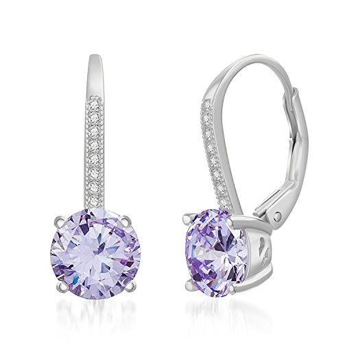 LESA MICHELE Rhodium Plated Sterling Silver Round Light Purple Simulated Alexandrite & Cubic Zirconia Drop Leverback Earrings for Women (Imitation June Birthstone)