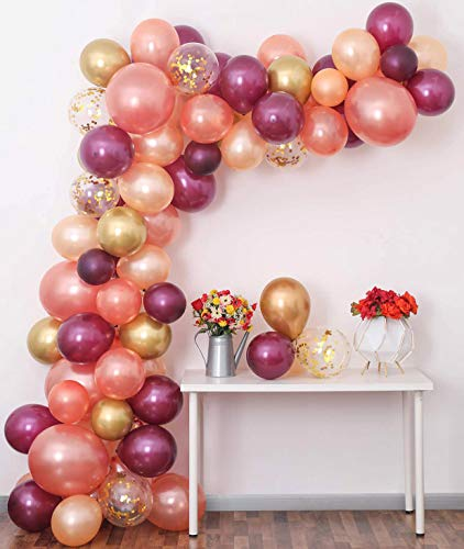 """Burgundy Rose Gold Balloon Garland Kit, 100PCS Balloon Garland Including Burgundy,18"""" Rose Gold, Peach Pearl, Chrome Gold & Gold Confetti Assorted Balloons Decorations Ideal for Bachelorette Birthday"""