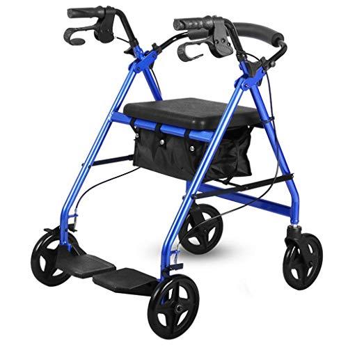 Gcxzb 4 Rueda rodante Walker con Asiento y Bolsa -7' Ruedas y Plegable Pedal Movilidad Ayuda for Adultos, Senior, Ancianos y Personas discapacitadas - Silla de Transporte de Aluminio (Color : Blue)