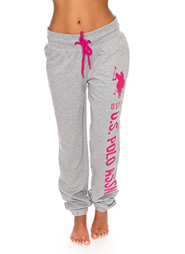 U.S. Polo Assn. Essentials Womens Printed French Terry Boyfriend Jogger Sweatpants Grey L