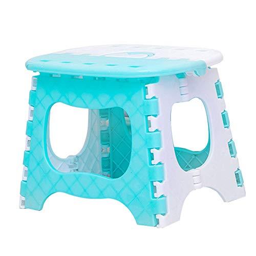 Tecoto Faltbar Tritthocker, Leicht Robuster Kunststoff Klein Sitz, Mehrzweck rutschfest Faltbar Easy Aufbewahrung Hocker für Erwachsene, Kinder, Heim, Außen - Blau