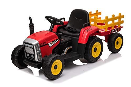 Mondial Toys Trattore Elettrico 12V 7AH CAVALCABILE per Bambini con RIMORCHIO Telecomando Rosso
