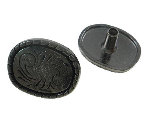 10Sets Gunmetal Floral Florentine Celtic Rope Edge Oval Rivets Leather Concho RV086