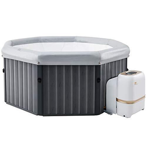 SHATCHI Tuscany Premium 5-6 Bathers Bubble Spa Portable Inflatable Quick Heating Hot Tub, Metallic Silver Pools, Hot Tubs & Supplies