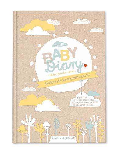 Babytagebuch für das 1. Jahr, Baby Diary zum Eintragen mit Entwicklungsschritten für das erste Lebensjahr, Geburtsgeschenk für Jungen & Mädchen, Premium Hardcover A5