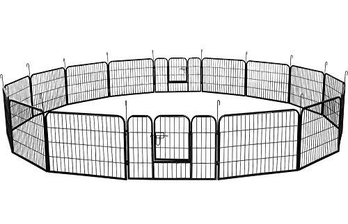 Yaheetech Welpenauslauf Metall Laufstall Zaun Gitter Welpen Hasen Kaninchen Freigehege 16 eckig mit 2 Tür 60 cm Hoch für draußen und Innen