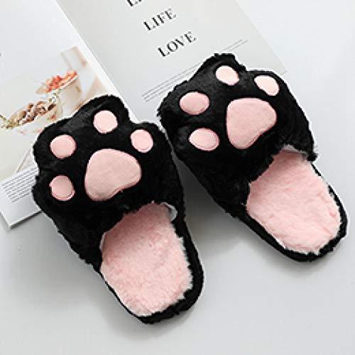 Zapatillas de Felpa peludas, Almohadilla para Gatos, Animal de Dibujos Animados, Rosa, Gris, Pata de Oso, Negro, Antideslizante para niñas, Zapatos de Piso para Interiores, niños, niñas, Negro