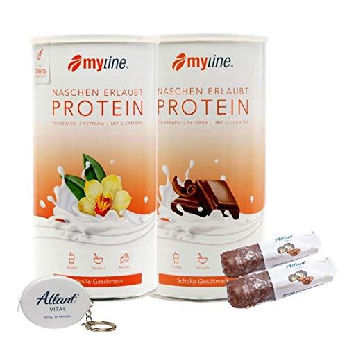 Myline Eiweiß Shake Proteinpulver 2er Pack 2x 400g + AV Maßband + 2 Proteinriegel (Schokolade-Vanille)