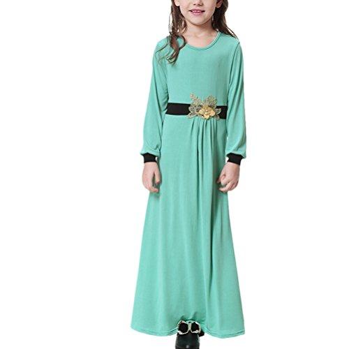 Zhuhaitf Musulmán Kaftan Manga Larga Maxi Vestido para Niñas Islamic Vestidos Gown Abaya