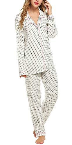 Lucyme Damen Pyjamas Set Elegant Modal Langarm Schlafanzug mit Knopfleiste Zweiteiliger Lang Nachtwäsche Sleepwear XS-XXL, Weiß 337, EU 40(Herstellergröße: M)