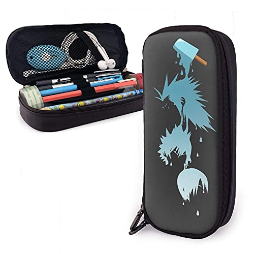Estuche para lápices de cuero Sea Salt Trio Pu con cierre de cremallera Estuche de transporte de gran capacidad para la oficina de la escuela