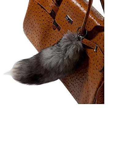 Modassori Taschen-Anhänger Echtfell Pelz Fuchsschwanz Natur grau schwarz Trend-Mode