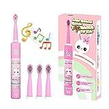 Spazzolino Elettrico Musicale per Bambini, Spazzolino Intelligente Ricaricabile per Bambini da 3 a 12 Anni Con Timer di 2 Minuti, 3 Modalità, 4 Testine (coniglio rosa)