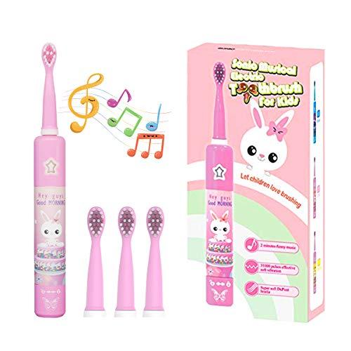 Musikalische Elektrische Zahnbürste für Kinder, Wiederaufladbare Intelligent Karikatur Zahnbürste für Kinder Alter 3-12 mit 2 Minuten Timer,3 Modi, 4 Bürstenköpfe, 31000 Hülsenfrüchte (rosa Kaninchen)