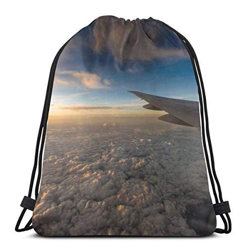 LemonSisterShop Drawstring Backpack Flight Airplane Porthole Window Canvas Bulk Sackpack for Men Women String Sports Gym Bag