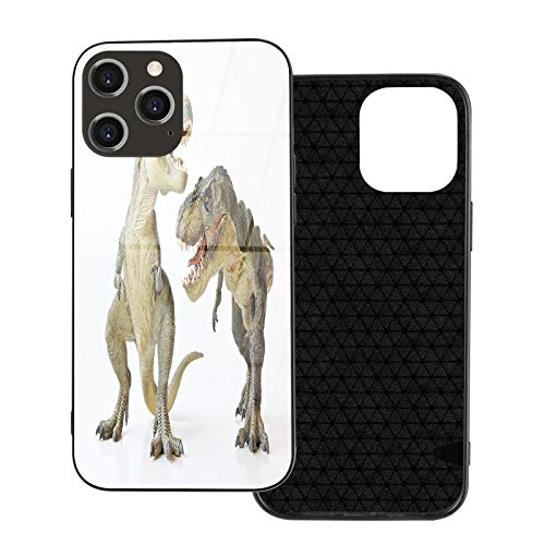 Compatible with iPhone 12 pro max case,Dinosaur,Tyrannosaurus Rex Pair Facing Off Ferocious Creatures Prehistoric Predators,Brown Ivory.Shockproof [Full Body Protection] (6.7 inch)